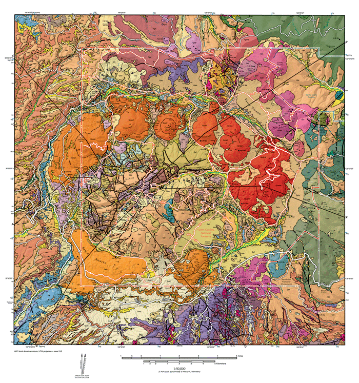 geologic map of the valles caldera cross section a a