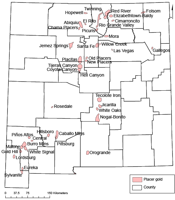Rio Grande River New Mexico Map.Placer Gold Resources In New Mexico