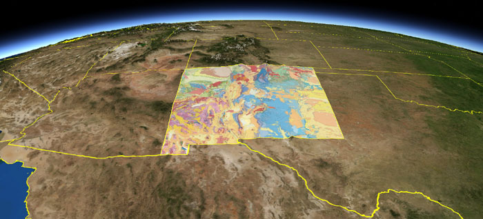 NM oblique view of geologic map from space