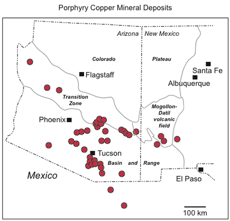 map of porphyry copper deposits
